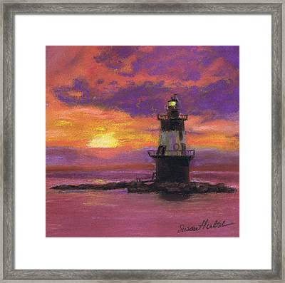 Orient Point Lighthouse Sunset Framed Print by Susan Herbst