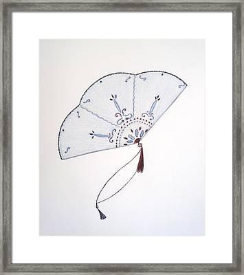 Oriental Fan Framed Print by Christine Corretti