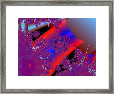 Framed Print featuring the digital art Oriental In Red by Ann Peck