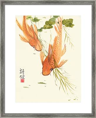 Framed Print featuring the painting Oriental Koi II by Sandy Linden