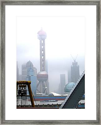 Oriental Pearl Tower Under Fog Framed Print by Nicola Nobile