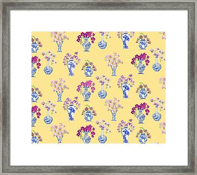Oriental Vases With Orchids Framed Print