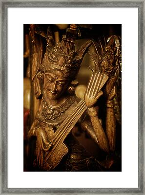 Oriental Wooden Princess Playing Instrument Framed Print