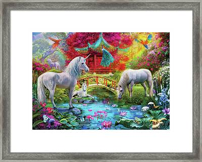 Framed Print featuring the drawing Orietnal Unicorns by Jan Patrik Krasny