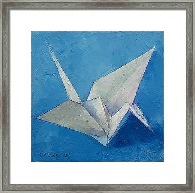 Origami Crane Framed Print by Michael Creese