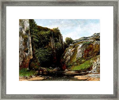 Framed Print featuring the digital art Origin Of A Stream by Gustave Courbet