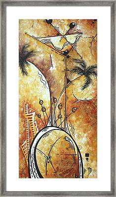 Original Abstract Cityscape And Martini Art Modern Las Vegas Painting The Spirit Of Vegas By Madart Framed Print by Megan Duncanson