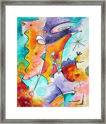 Original Abstract Colorful Painting Fun And Funky Landscape And Colorful Theme Wistful Dreams By Md Framed Print by Megan Duncanson