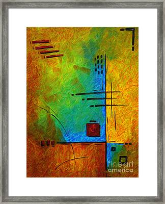 Original Abstract Painting Digital Conversion For Textured Effect Resonating IIi By Madart Framed Print by Megan Duncanson