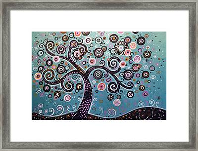 Framed Print featuring the painting Original Abstract Tree Landscape Painting ... Dancing In The Light by Amy Giacomelli