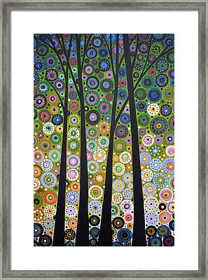 Framed Print featuring the painting Original Abstract Tree Landscape Painting ... Falling Light by Amy Giacomelli