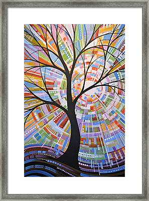 Original Abstract Tree Landscape Painting ... Here Comes The Sun Framed Print