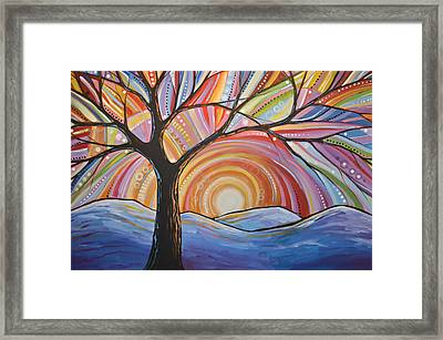 Framed Print featuring the painting Original Abstract Tree Landscape Painting ... Mountain Majesty by Amy Giacomelli