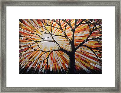 Framed Print featuring the painting Original Abstract Tree Landscape Painting ... Shine by Amy Giacomelli