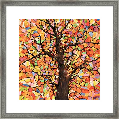 Original Abstract Tree Landscape Painting ... Stained Glass Tree #2 Framed Print by Amy Giacomelli