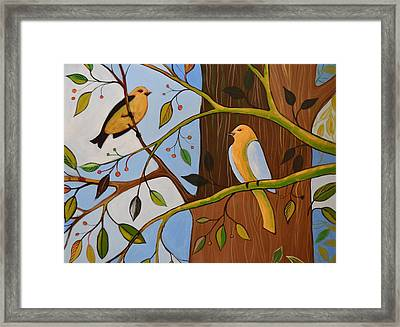 Framed Print featuring the painting Original Animal Birds Art Painting ... Birds In The Garden by Amy Giacomelli