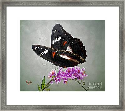 Original Animal Oil Painting Art-the Butterfly#16-2-1-09 Framed Print by Hongtao     Huang