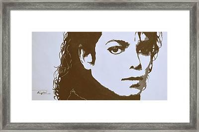 original black an white acrylic paint art- portrait of Michael Jackson#16-2-4-12 Framed Print
