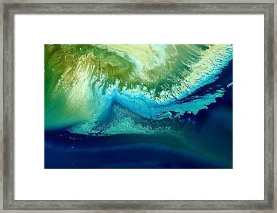 Original Blue Abstract Art Hidden Mountain By Kredart Framed Print by Serg Wiaderny