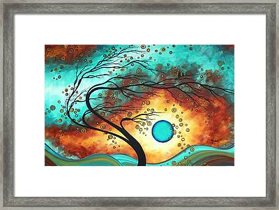 Original Bold Colorful Abstract Landscape Painting Family Joy II By Madart Framed Print