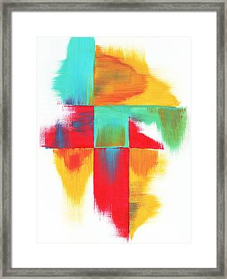 Original Bold Colorful Abstract Painting Indecisive By Madart Framed Print by Megan Duncanson
