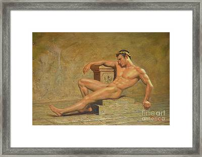 Original Classic Oil Painting Gay Man Body Art Male Nude -023 Framed Print