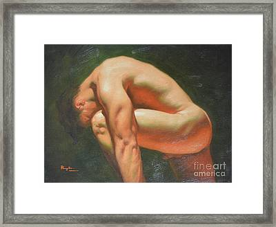 Original Classic Oil Painting Man Body Art-male Nude -042 Framed Print by Hongtao     Huang