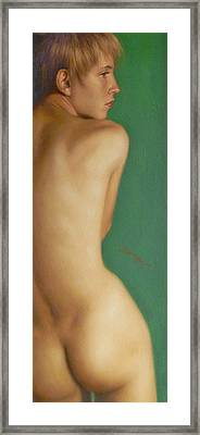 Original Classic Oil Painting Man Body Art-the Young Male Nude#16-2-1-07 Framed Print by Hongtao     Huang