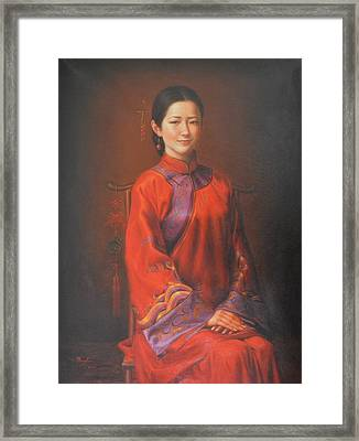 Original Classic Portrait Oil Painting Woman Art - Beautiful Chinese Bride Girl Framed Print