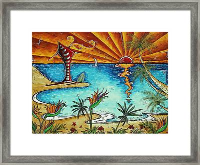 Original Coastal Surfing Whimsical Fun Painting Tropical Serenity By Madart Framed Print by Megan Duncanson