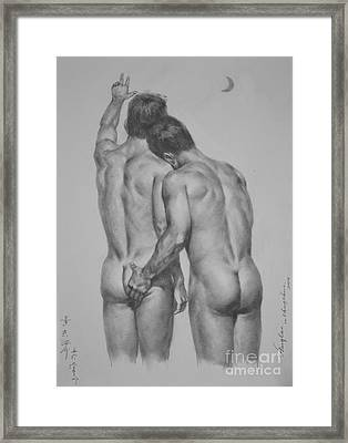 Original Drawing Sketch Charcoal Chalk Male Nude Gay Man Moon Art Pencil On Paper By Hongtao Framed Print by Hongtao     Huang