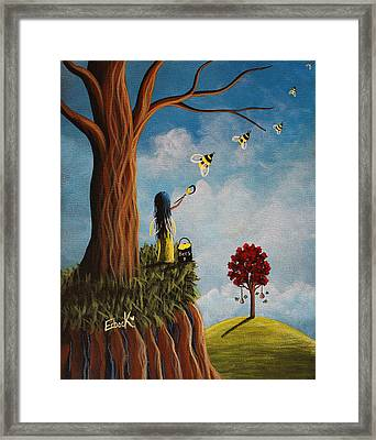 Original Fairy Artwork - Creating Her Happy Place Framed Print