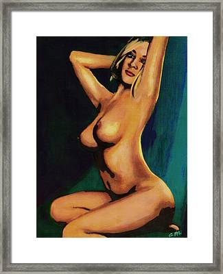 Original Fine Art Female Nude Painting Seated 7c Mods1c Framed Print
