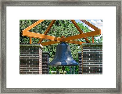 Framed Print featuring the photograph Original Fire Bell From The Superior Fire Dept In Wisconsin  1892  by Susan  McMenamin