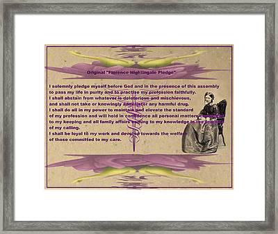 Original Florence Nightingale Pledge Poster Framed Print by Robert Kernodle