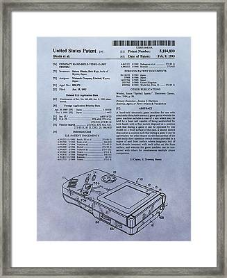 Original Gameboy Patent Framed Print by Dan Sproul