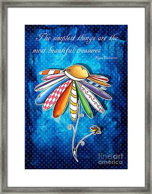 Original Hand Painted Daisy Quilt Painting Inspirational Art Quote By Megan Duncanson Framed Print by Megan Duncanson