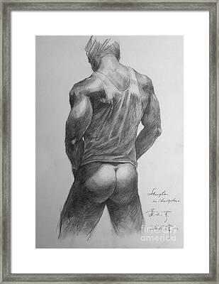 Original Man Gay Pencil Drawing Sketch Art On Peper By Hongtao Framed Print