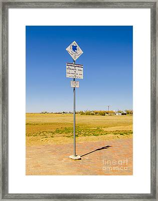 Original Midpoint Of Route 66 Signs In Adrian Texas Framed Print