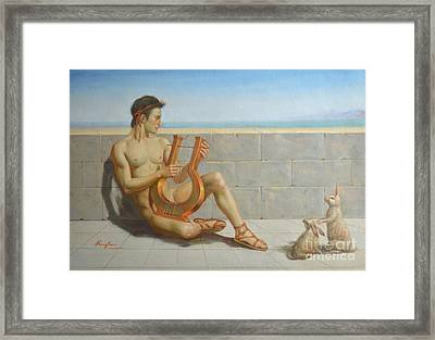 Original Oil Painting Gay Man Art-male Nude And Rabbit#16-02-5-41 Framed Print