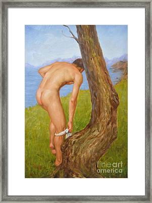 Original Oil Painting Man Body Art Male Nude-029 Framed Print