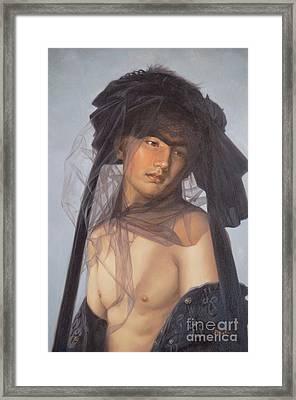 Original Oil Painting  Man Body Art-  Male Nude-053 Framed Print