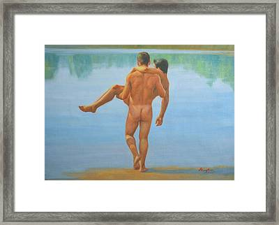 Original Oil Painting Man Body Art -male Nude By The Pool -073 Framed Print