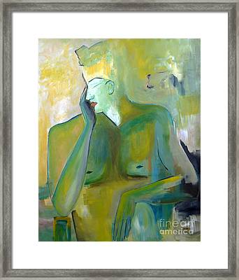 Original Painting Green Figurative Man Portrait Abstract Unique Decorative Abstract Art Reproduction Framed Print by Marie Christine Belkadi