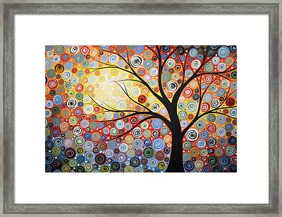 Framed Print featuring the painting Original Painting Print Titled Celestial Sunset by Amy Giacomelli