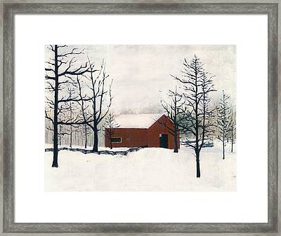 Original Painting Red Barn Snow Maryland Framed Print