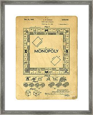 Original Patent For Monopoly Board Game Framed Print