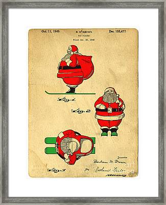 Original Patent For Santa On Skis Figure Framed Print by Edward Fielding