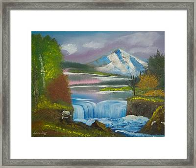 Original Peaceful Landscape Oil Painting---snow Mountain With Waterfall Of Autumn Gloaming Framed Print by Laura SONG