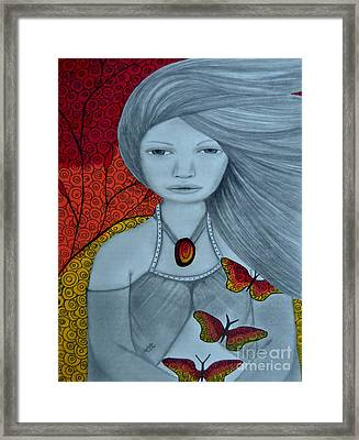 Original Pencil Drawing Art The Wind Of The Spirit 2 By Saribelle Rodriguez Framed Print by Saribelle Rodriguez